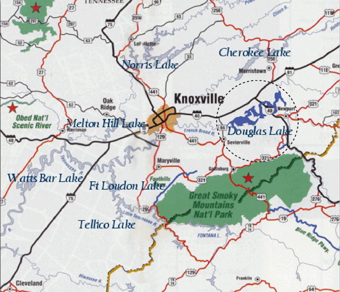 Area map of Douglas Lake near Great Smoky Mountains National Park and Knoxville