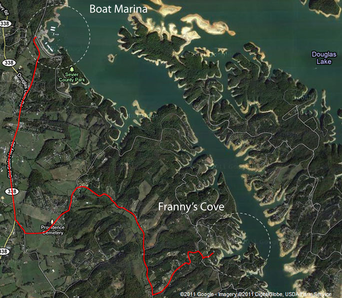Satellite map image of our boat marina and Franny's Cove on Douglas Lake