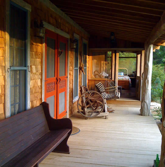 The front porch at The Pioneer Trading Post near Gatlinburg, Tennessee